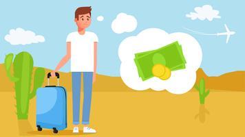 De man op reis zonder geld