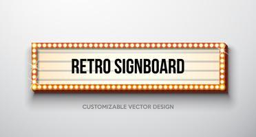Vector retro uithangbord of lightbox illustratie met klantgericht ontwerp op schone achtergrond. Lichte banner of vintage heldere billboard voor reclame of uw project. Show, nachtevenementen, bioscoop of theater gloeilampenlijst.