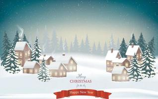 de winter komt eraan. besneeuwde nacht met sparren, naaldbos, lichte slingers, vallende sneeuw, boslandschap voor winter- en nieuwjaarsvakanties. vector