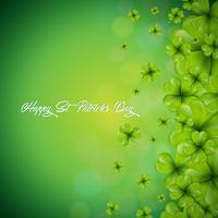 Saint Patricks Day achtergrondontwerp met dalende klavers blad achtergrond. Ierse vakantie vectorillustratie voor wenskaart, uitnodiging voor feest of promotie banner.