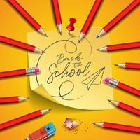 Terug naar schoolontwerp met grafietpotlood, gom en kleverige nota's over gele achtergrond. Vectorillustratie met post-it, rode pin en hand belettering voor wenskaart, banner, flyer, uitnodiging, brochure of promotie-poster.