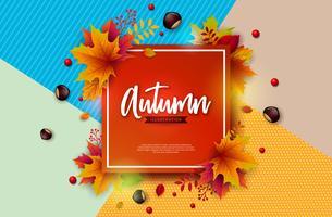 Herfst illustratie met kleurrijke vallende bladeren, kastanje en belettering op abstracte kleurrijke achtergrond. Herfst Vectorontwerp voor wenskaart, Banner, Flyer, uitnodiging, brochure of promotionele poster.
