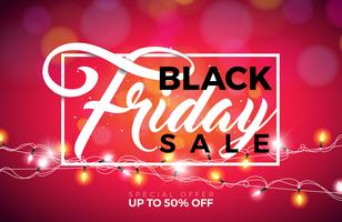 Black Friday verkoop vectorillustratie met verlichting Garland op glanzende achtergrond. Promotie ontwerpsjabloon voor spandoek of poster. vector