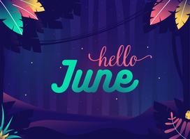 """""""Hallo juni"""" Zomernacht Jungle met planten en sterren vector"""