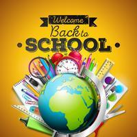 Terug naar schoolontwerp met kleurrijke potlood, gom en andere schoolpunten op gele achtergrond. Vectorillustratie met globe, wekker, vergrootglas, schoolbord
