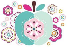 Abstract vectorpakket van Apple en bloemen