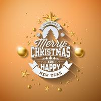 Vector Merry Christmas-illustratie met gouden glazen bal, knipsel Paper Star en typografie elementen op licht bruine achtergrond. Vakantieontwerp voor premium wenskaart, feestuitnodiging of promo-banner.