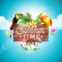 Vector zomertijd vakantie typografische illustratie met toucan vogel op vintage houten achtergrond. Tropische planten, bloemen, zonnebrillen en parasol met blauwe bewolkte hemel. Ontwerpsjabloon voor banner