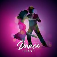 Internationale dansdag vectorillustratie met tango dansende paar op paarse achtergrond. Ontwerpsjabloon voor banner, flyer, uitnodiging, brochure, poster of wenskaart.