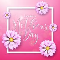 Gelukkige Moederdaggroetkaart met bloem op roze achtergrond. Vector viering illustratie sjabloon met typografisch ontwerp voor banner, flyer, uitnodiging, brochure, poster.