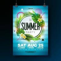 Vector zomer feest folderontwerp met tropische bladeren en bloem op blauwe achtergrond. Zomer natuur floral elementen. Ontwerpsjabloon voor banner, uitnodiging, evenement poster.
