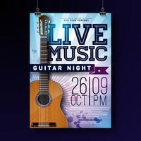 Live muziek flyer ontwerp met akoestische gitaar op grunge achtergrond. Vectorillustratiemalplaatje voor uitnodigingsaffiche