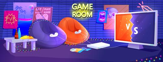 Game club kamer interieur vector