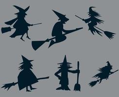 heks halloween witte voorwerpen tekenen symbolen vector illustratie abstract met grijze background