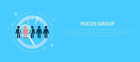 Target focusgroep met vergrootglas vector