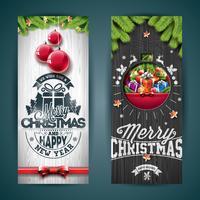 Vector Merry Christmas-de illustratie van de groetkaart met typografieontwerp