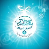 Vector Vrolijke Kerstmisvakantie en Gelukkige Nieuwjaarillustratie met typografisch ontwerp
