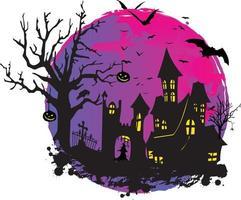 griezelig halloween-ontwerp met heksenspookhuisillustratie vector