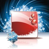 Vectorkerstmisillustratie met 3d sneeuwvlok op rode achtergrond