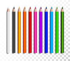 Ontwerpset van realistische kleurpotloden op transparante achtergrond. Schoolpunten, kleurrijke potlood vectorillustratie.