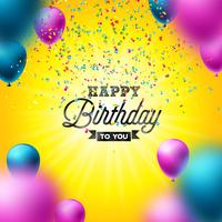 Gelukkige verjaardag Vector ontwerp met ballon, typografie en vallende confetti op glanzende gele achtergrond. Illustratie voor verjaardag. wenskaarten of feestaffiche.