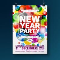 Nieuwjaar partij viering Poster illustratie met typografie ontwerp op glanzende kleurrijke achtergrond. Vector EPS 10.
