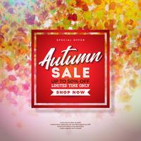Herfst verkoop ontwerp met kleurrijke vallende bladeren en belettering op rode achtergrond. Herfst vectorillustratie met speciale aanbieding typografie elementen voor coupon