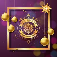 Vrolijke Kerstmis en gelukkig Nieuwjaar illustratie met typografie en gouden glazen bollen op paarse achtergrond. Vector vakantie ontwerp voor wenskaarten, banner, poster, cadeau.