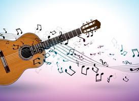 Muziekbannerontwerp met akoestische gitaar en dalende nota's over schone achtergrond. Vectorillustratiemalplaatje voor uitnodiging, partijaffiche, promotiebanner, brochure, of groetkaart.
