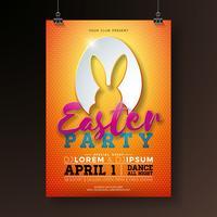 Vector Pasen-de Illustratie van de Partijvlieger met konijnoren in het snijden van eiersilhouet en typografieelementen op oranje achtergrond. Lente vakantie viering poster ontwerpsjabloon.