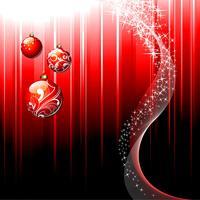 Kerstmisillustratie met glanzende glasbal op rode achtergrond.