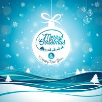Vrolijke Kerstmisillustratie met typografie en ornamentdecoratie op de achtergrond van het de winterlandschap. Vector Kerst vakantie flyer of posterontwerp.