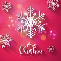 Vector Vrolijk kerstfeest en gelukkig Nieuwjaar illustratie op glanzende Sneeuwvlok achtergrond met typografie Element en lange schaduw. Vakantieontwerp voor premium wenskaart, feestuitnodiging of promo-banner.
