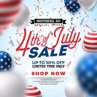 Vier juli. Onafhankelijkheidsdag verkoop spandoekontwerp met ballon op Confetti achtergrond. USA nationale feestdag vectorillustratie met speciale aanbieding typografie elementen voor coupon vector