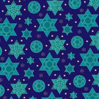 blauw en goud sierlijk joods sterpatroon vector