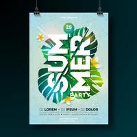 Vector zomer Beach Party Flyer Design met bloem en tropische planten op blauwe achtergrond. De aard bloemenelementen van de zomer en typografische brief. Ontwerpsjabloon voor banner, flyer, uitnodiging, poster.