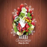 Vrolijk kerstfeest en gelukkig Nieuwjaar typografisch ontwerp met vakantie elementen vector