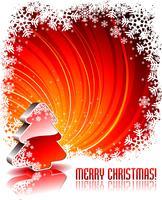 Vectorvakantieillustratie met glanzende 3d Kerstboom op rode achtergrond.