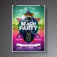 Vector zomer Beach Party Flyer Design met paradijselijke eiland op oceaanlandschap