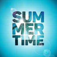 Vector zomertijd vakantie typografische illustratie op oceaan landschap-achtergrond