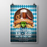 Oktoberfest poster vectorillustratie met vers donker bier