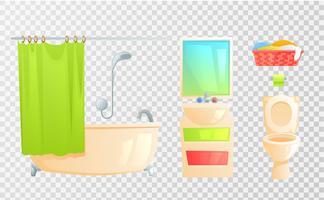 Geïsoleerd toilet en bad en andere onderwerpen vector
