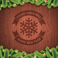 Gegraveerde Vrolijke Kerstmis en Gelukkig Nieuwjaar typografisch ontwerp met spar op houten textuurachtergrond.