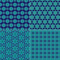 sierlijke blauwe en gouden joodse sterpatronen vector