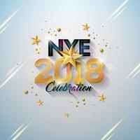 Gelukkig Nieuwjaar illustratie met typografie brief, gouden knipsel papier ster en sierbal op witte achtergrond. Vector vakantie ontwerp voor Premium wenskaart, uitnodiging voor feest of promotie banner.