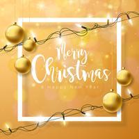 Vector Vrolijke Kerstmisillustratie op Bruine Achtergrond met Typografie en Vakantielicht Slinger, Pijnboomtak, Sneeuwvlokken en sierbal.