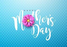Gelukkige Moederdaggroet kaartillustratie met roze bloem en typografisch ontwerp op blauwe achtergrond. Vector viering illustratie sjabloon voor spandoek, flyer, uitnodiging, brochure, poster.