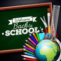 Terug naar schoolontwerp met kleurrijke potlood, gom en andere schoolpunten op zwarte achtergrond. Vectorillustratie met globe, schoolbord en krijt belettering voor wenskaart