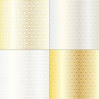 mod zilveren en gouden geometrische roosterpatronen vector
