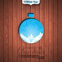 Gegraveerde prettige kerstdagen en gelukkig Nieuwjaar typografisch ontwerp vector